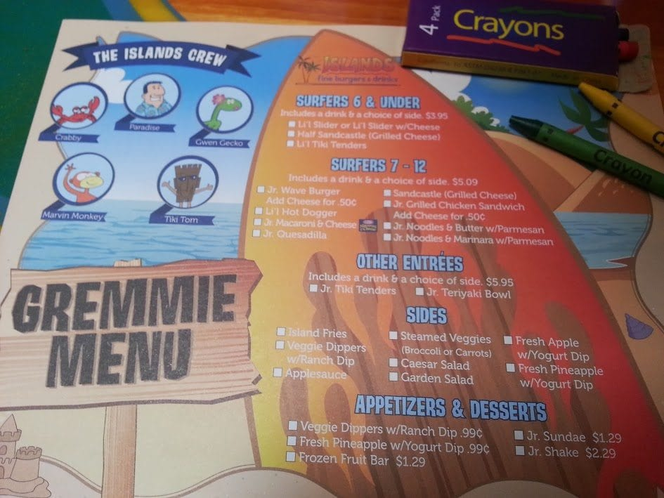 A picture of the kids menu at Islands.