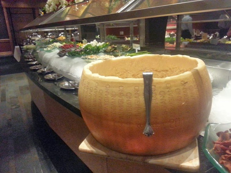 Parmesan cheese to dip next to the enormous salad bar