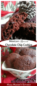 Mexican Spiced Chocolate Chip Cookies - Here's an easy Mexican dessert recipe that takes cake boxes to an entirely new delicious level. by Mama Maggie's Kitchen