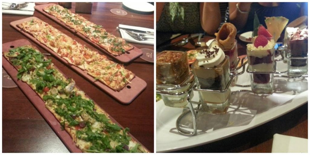 2 flatbreads and little desserts at Seasons 52