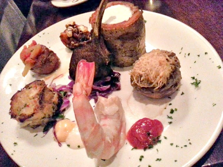 appetizers- Cajun lamb chop, giant shrimp cocktail, bacon wrapped scallops, Maryland-style crab cake, stuffed mushroom.