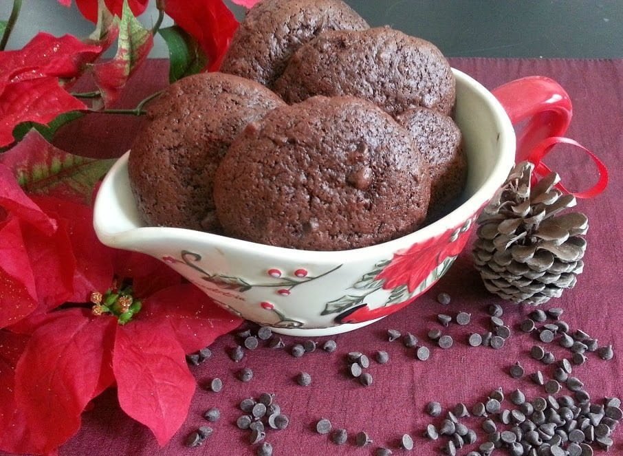 Mexican Spiced Chocolate Cookies Adorned with poinsettia flowers