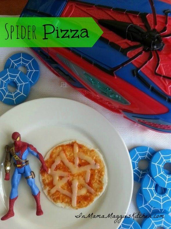 Spider Pizza with spider man toys