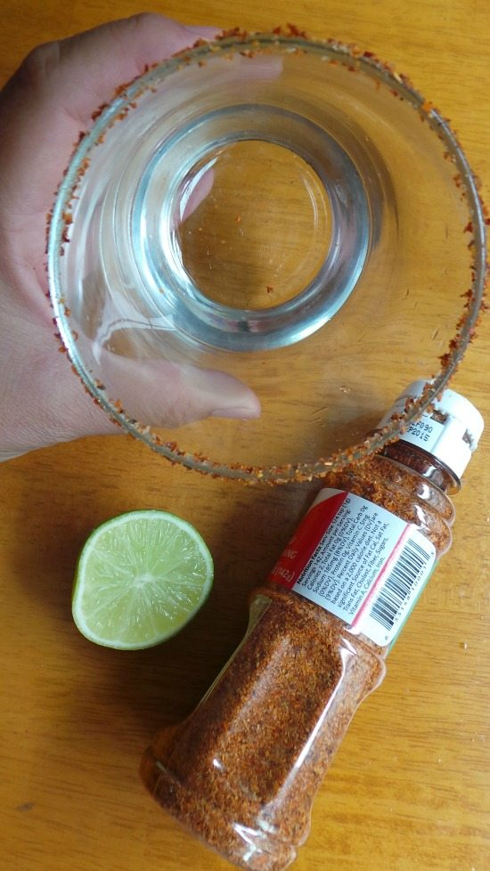 Spicy Glass Rim with tajin and a lime