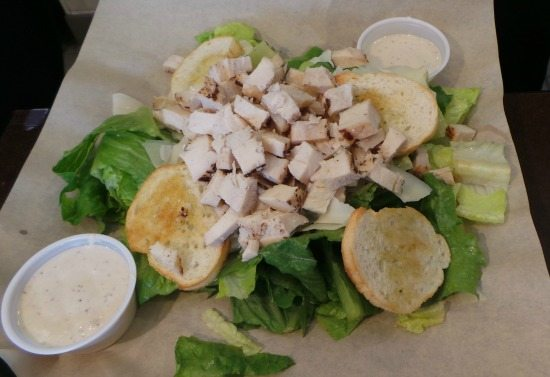 Chicken Caesar Salad with bread dressing apart