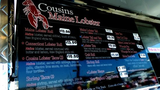 Cousins Maine Lobster Menu