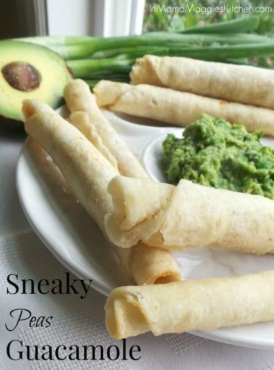 Sneaky Peas with Guacamole served on a plate