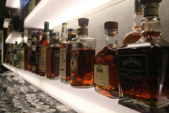 Liquor shelf at Stake in Coronado