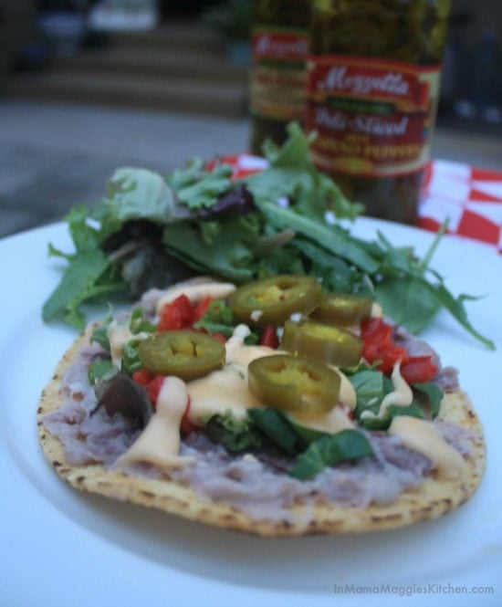 Bean and Nacho Cheese Tostada | In Mama Maggie's Kitchen
