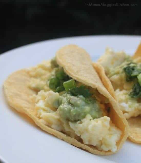Scrambled Egg Tacos with guacamole