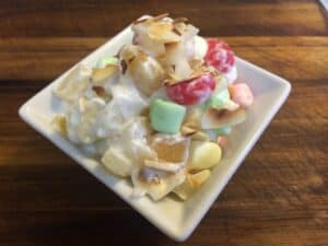 Postres for Pascua (Easter Dessert Recipes) -Fluffy Marshmallow Fruit Salad by Mama Maggie's Kitchen