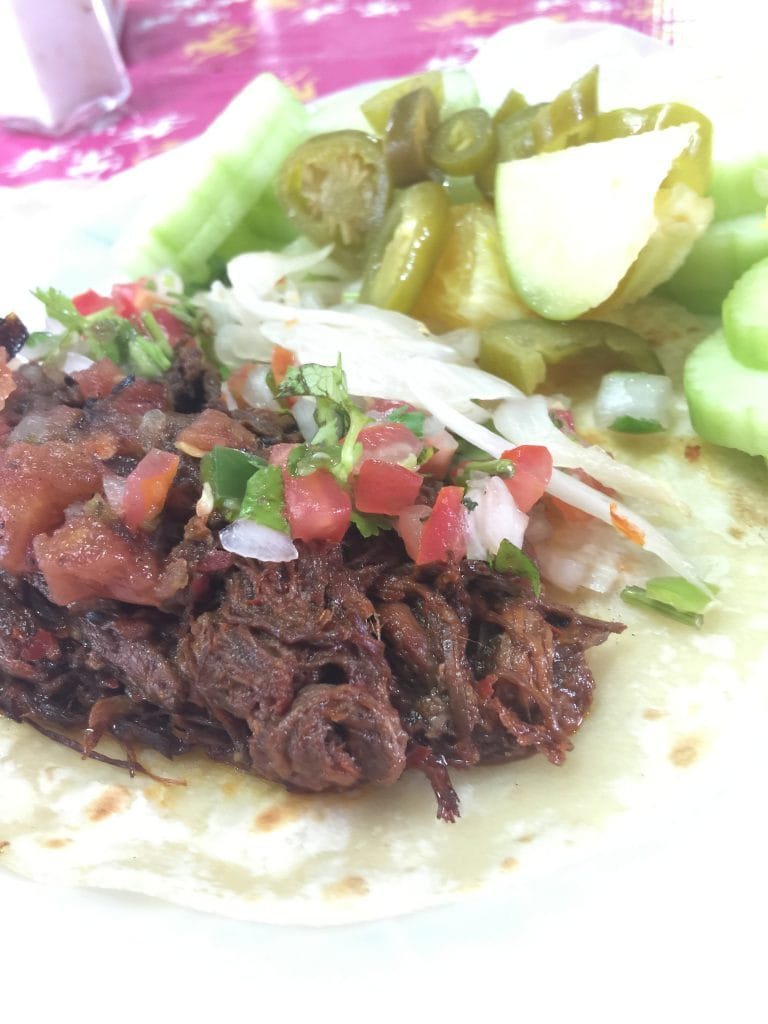 Taco de Barbacoa, or shredded beef