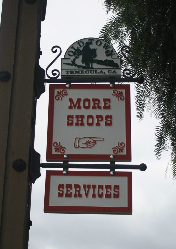 Old Town Temecula shops and services signs