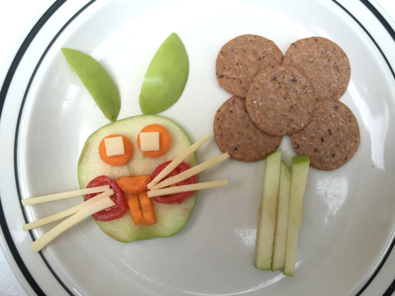 Apple Bunny made with carrots, tomato and cheese