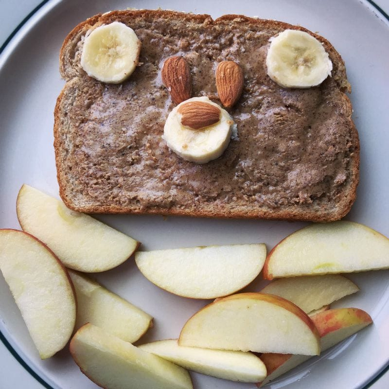 Bear Toast made with bananas, almonds and apples