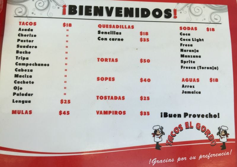 Menu at Tacos el Gordo