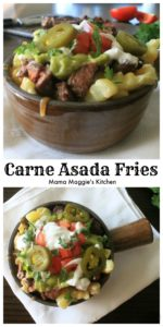 For Game Day, there is nothing better than Carne Asada Fries. A delicious and absolutely addicting appetizer and topped with grilled meats, salsa, guacamole, and more! The best part is that they are super easy-to-make. By Mama Maggie's Kitchen