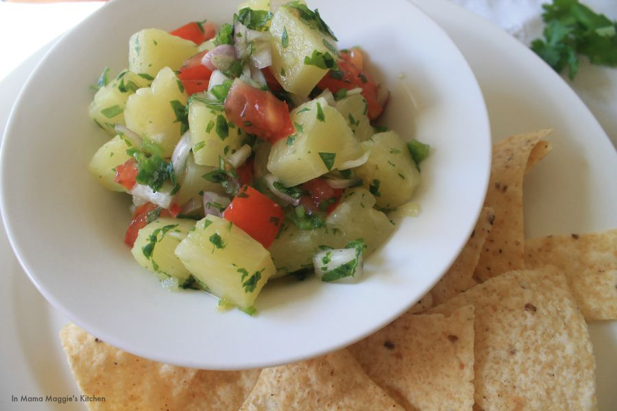 Salsa de Piña, or Pineapple Salsa by In Mama Maggie's Kitchen