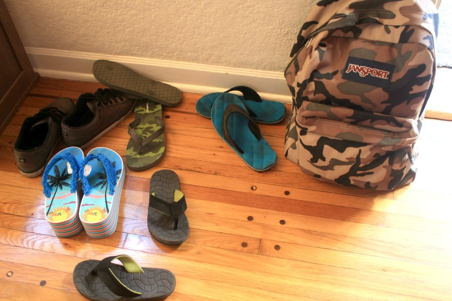 Shoes and backpack