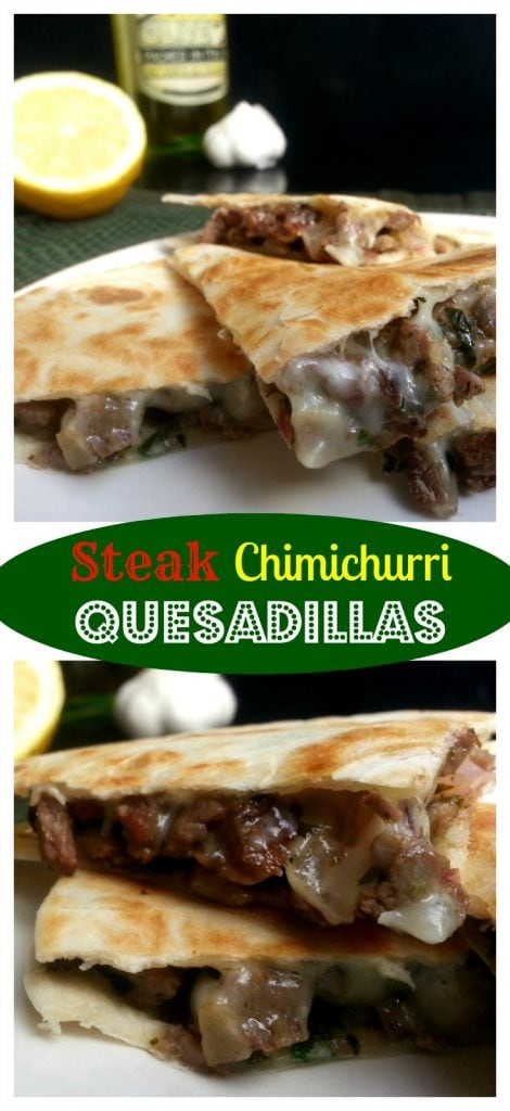 Steak Chimichurri Quesadillas - steak, cheese, and a yummy herb sauce. How can you go wrong? by Mama Maggie's Kitchen