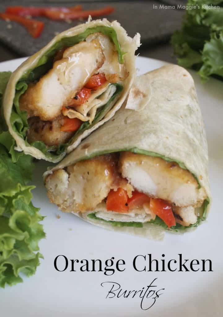 Orange Chicken Burritos | In Mama Maggie's Kitchen