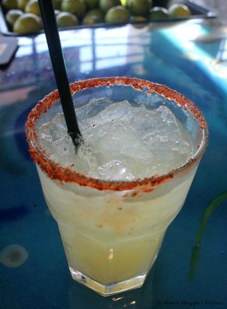 Mermaid Margarita, a skinny cocktail using agave nectar | In Mama Maggie's Kitchen