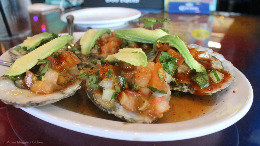 Oysters topped with spicy Mexican sauce and avocado. DELICIOUS! - In Mama Maggie's Kitchen