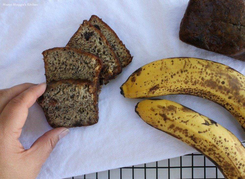 Banana Chocolate Chip Bread - What do you do with frozen bananas? Just the smell of this baking in the oven is incredible. By Mama Maggie's Kitchen