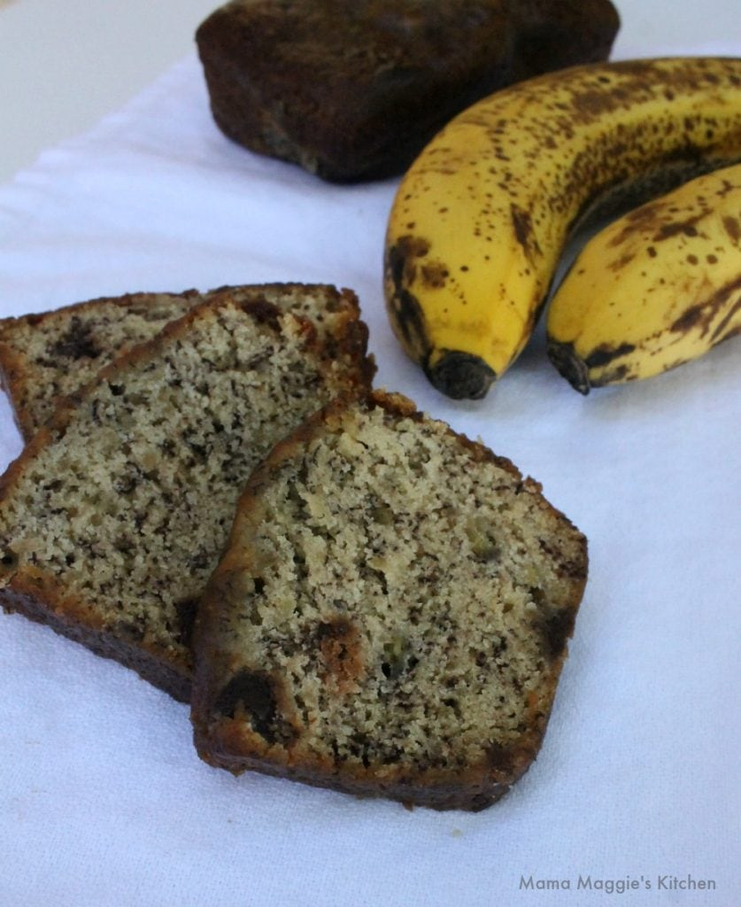 Banana Chocolate Chip Bread - with a cup of coffee, this makes the best breakfast. Mama Maggie's Kitchen