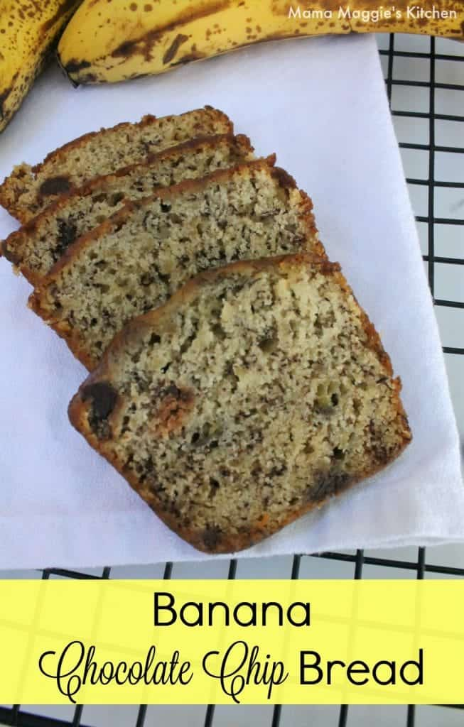 Banana Chocolate Chip Bread - soft, delicious, moist and perfect for breakfast. Mama Maggie's Kitchen