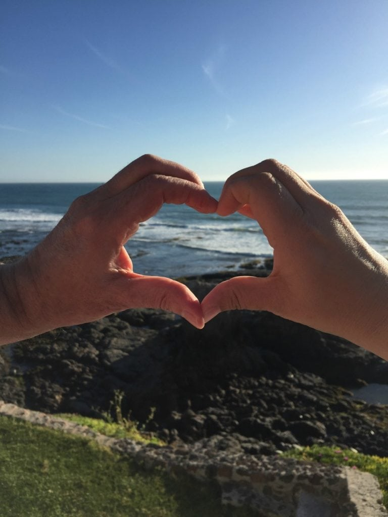 Heart Shaped Hands and the ocean
