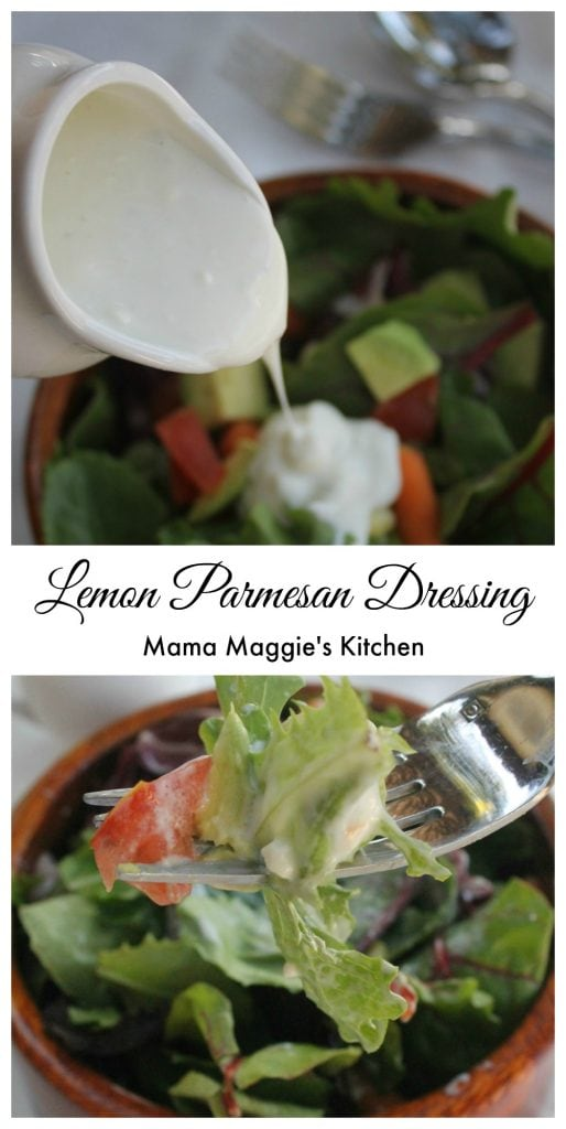 Lemon Parmesan Dressing - creamy and lemony. So good that you'll put it on everything including your salad. :) Mama Maggie's Kitchen