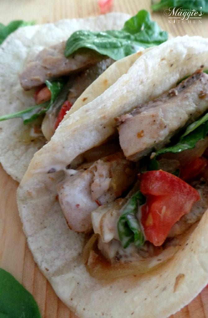 Grilled Fish Tacos with mayo sauce and tomato