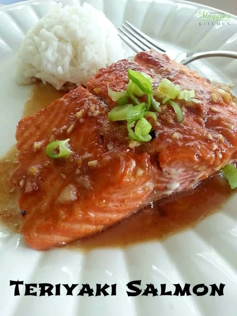 Teriyaki Salmon served with rice on a plate