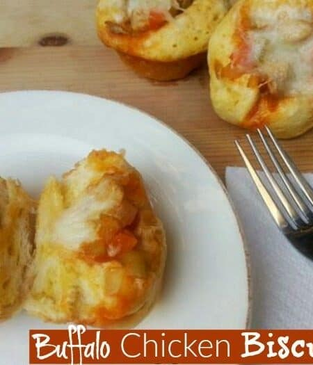Yummy Buffalo Chicken Biscuits - easy to make appetizers for game day or party finger food - by Mama Maggie's Kitchen