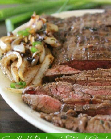 Grilled Balsamic Herb Steak with Grilled Onions - this recipe is perfect for outdoor entertaining, BBQ goodness at its best. - by Mama Maggie's Kitchen