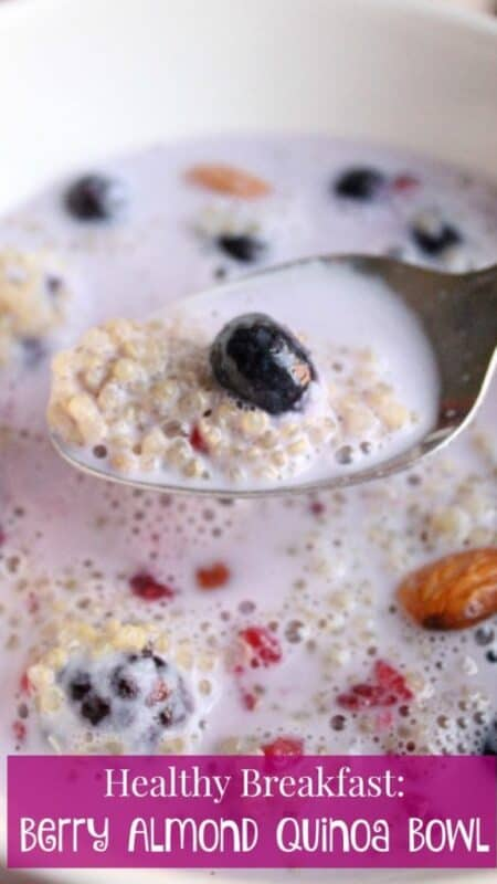 Healthy Breakfast Berry Almond Quinoa Bowl - a yummy and good-for-you way to start your day. It will keep you fuller longer - by Mama Maggie's Kitchen
