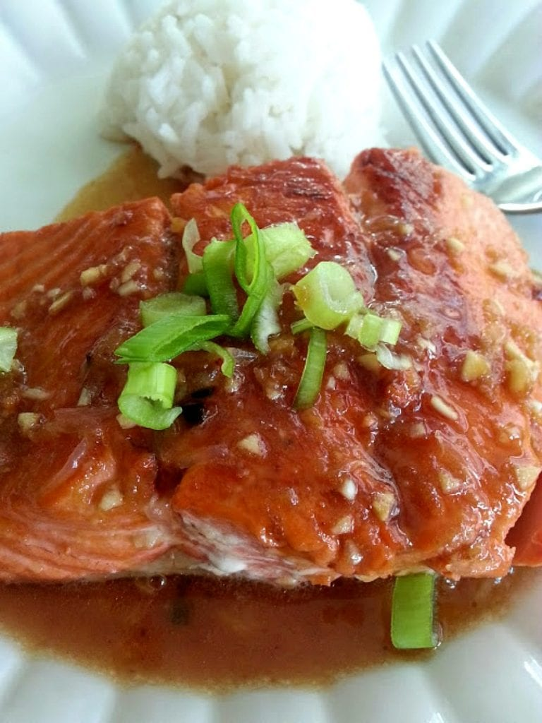 Teriyaki Salmon served with rice