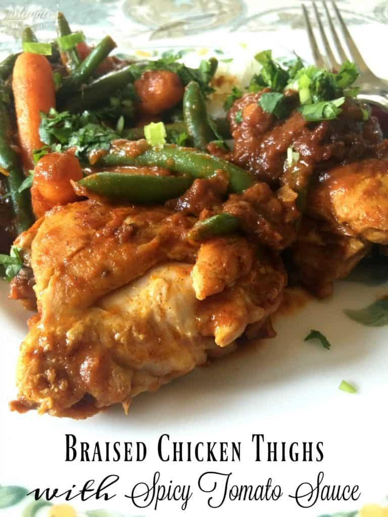 Braised Chicken Thighs with Spicy Tomato Sauce