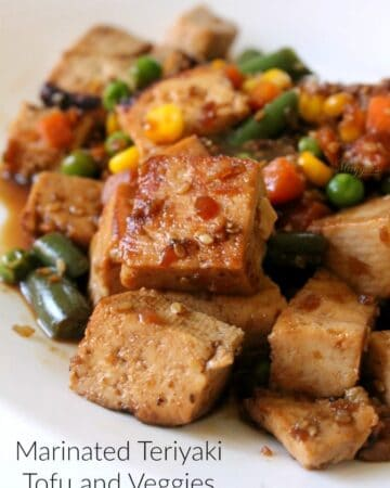 Marinated Teriyaki Tofu and Veggies is an easy and yummy lunch that will take you minutes to make. Plan ahead, and lunch will be ready in a flash. By Mama Maggie's Kitchen