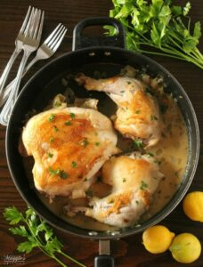One Pan Lemon Herb Chicken - This yummy recipe is perfect for busy weeknights. With only one pan to wash, it will soon be a family favorite. By Mama Maggie's Kitchen