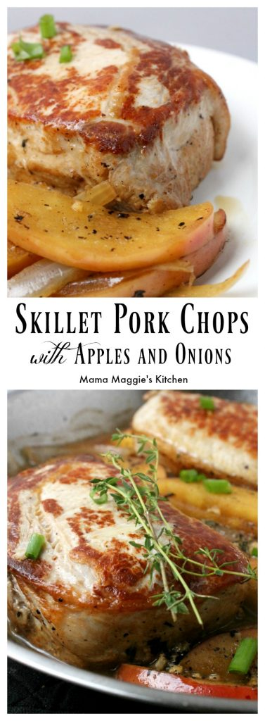 Skillet Pork Chops with Apples and Onions - an easy-to-make recipe that's delicious and yummy. This German American dish is perfect for fall and those who are fans of easy cleanup. (raises hand) - by Mama Maggie's Kitchen