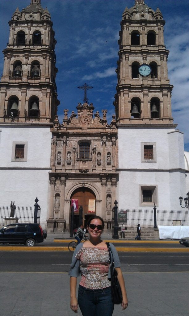 Maggie Unzueta in front of the cathedral in Durango, Mexico
