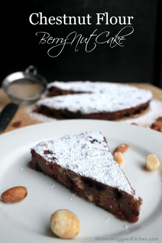 Chestnut Flour Berry Nut Cake - a delicious cake for breakfast or yummy dessert that's gluten free and low in fat. By Mama Maggie's Kitchen