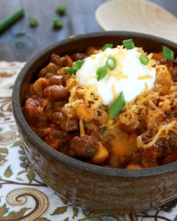 Slow Cooker Chipotle Chili is delicious with big, bold flavors that will warm you up on a cold day. By Mama Maggie's Kitchen