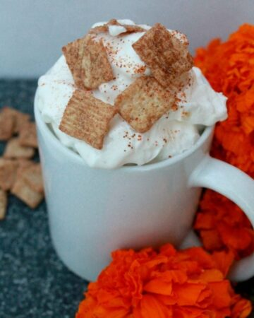 Cinnamon Toast Crunch Mexican Coffee is a delicious way to celebrate Día de los Muertos. Sweet eats for the sweet memories of our departed loved one. By Mama Maggie's Kitchen