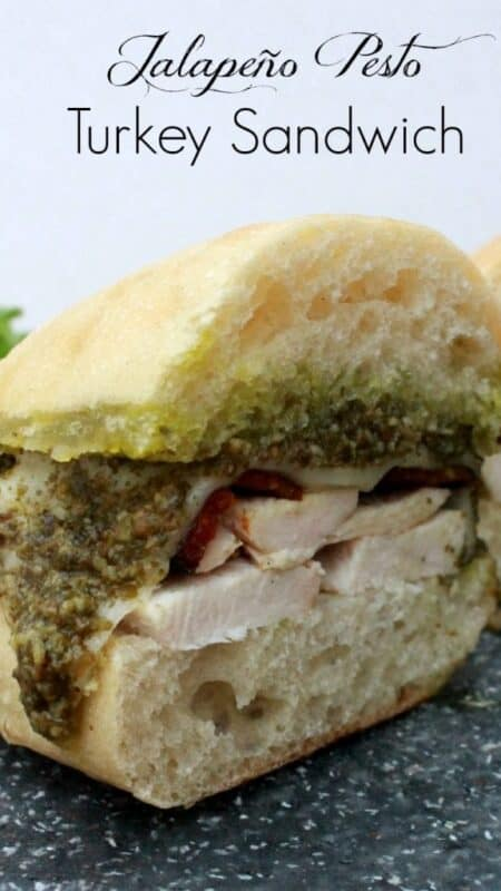 Don't know what to make with your Thanksgiving leftovers? Sink your teeth into this yummy and incredibly delicious Jalapeño Pesto Turkey Sandwich! Recipe by Mama Maggie's Kitchen