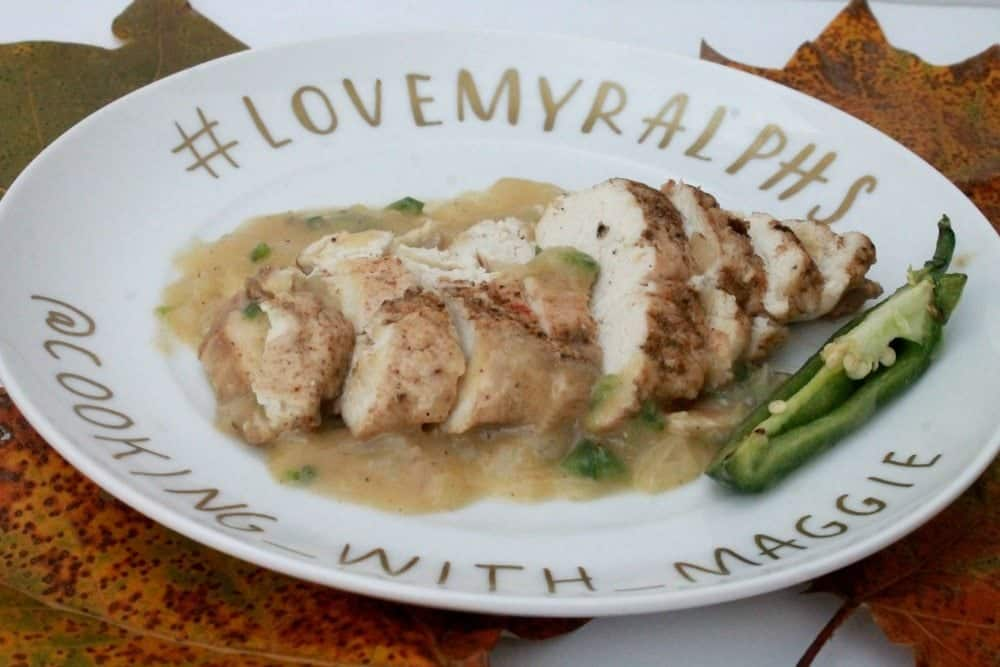 Mexican-Style Chicken with Jalapeño Onion Sauce is a yummy and not-so-spicy dish that's perfect to share with friends or family. by Mama Maggie's Kitchen