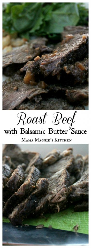 Roast Beef with Balsamic Butter Sauce is a meat lover's dream. With its sweet, tangy, and creamy sauce, you can't go wrong in serving this delicious dish. By Mama Maggie's Kitchen.