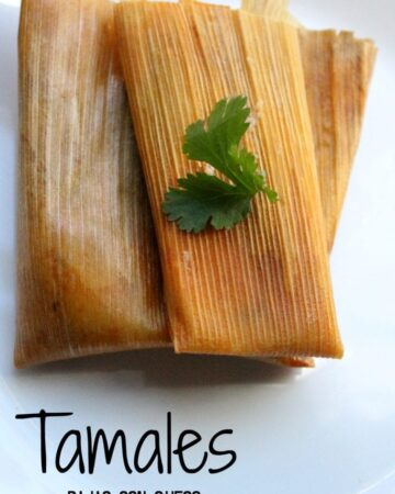 Tamales Rajas con Queso, or Jalapeño and Cheese Tamales on a white plate topped with a green cilantro leaf.